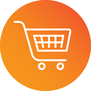 White line illustration of a shopping cart on a red-orange gradient circle