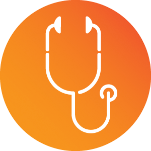 White line illustration of a stethoscope on a red-orange gradient circle