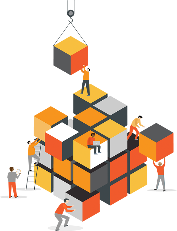 Illustration of several figures stacking small cubes to form one large cube
