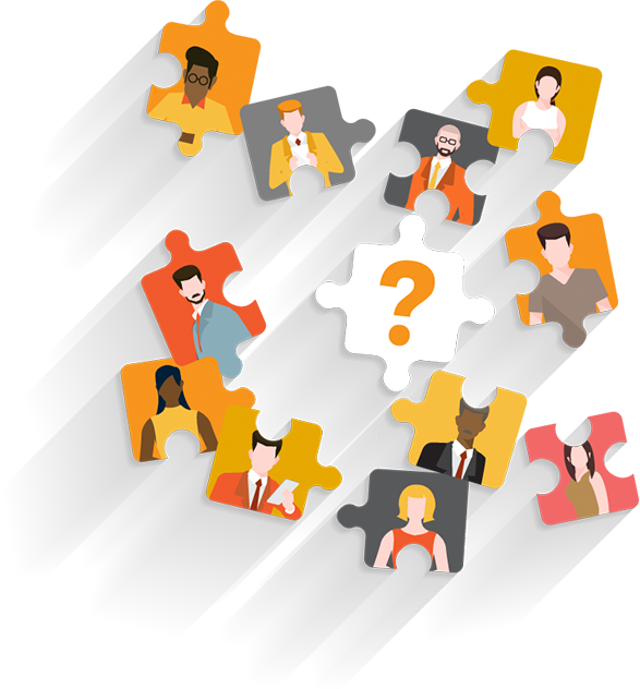 Illustration of puzzle pieces with figures on them scattered around a puzzle piece with a question mark on it