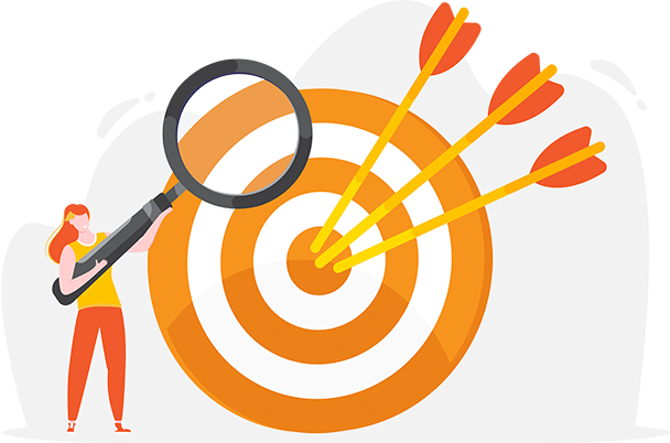 Illustration of a figure with a magnifying glass in front of a target with three arrows in the bullseye