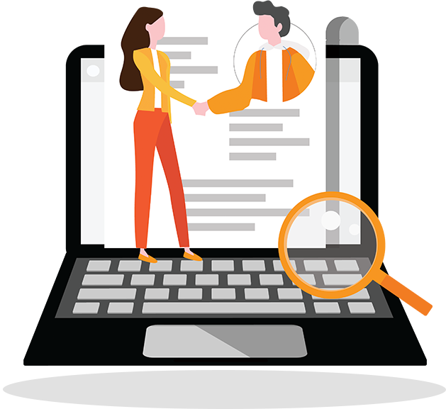 Illustration of a figure standing on a laptop and shaking hands with a job candidate photo that appears on-screen