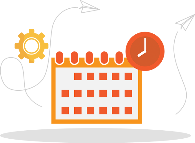Illustration of a calendar with a time clock, a gear, and two paper airplanes around it